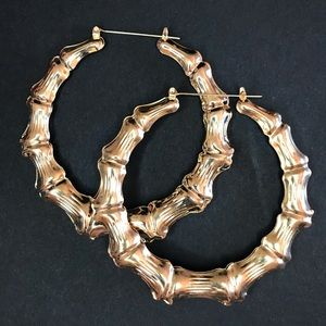 Gold Color Bamboo Large Hoop Earrings